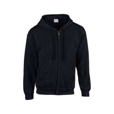 Extra méretű zippzáras, kapucnis pulóver, fekete