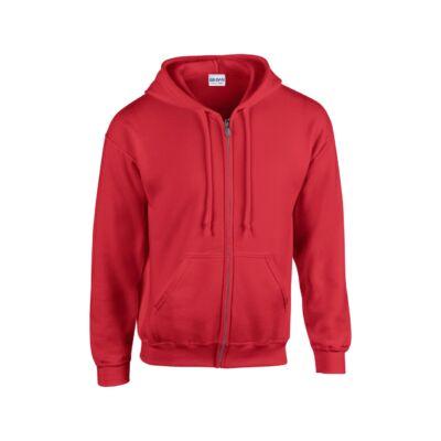Extra méretű zippzáras, kapucnis pulóver, piros