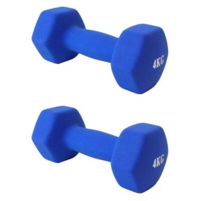 Egykezes kézisúlyzó párban, neoprén,  2x4 kg
