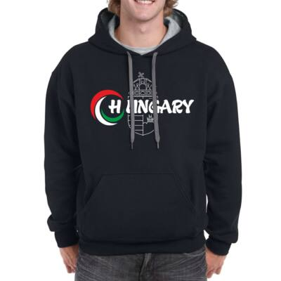 Magyar pulóver bebújós,kapucnis, fekete