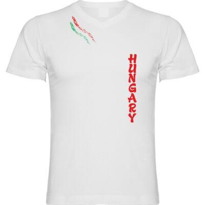 Magyar póló V nyakas aszimmetrikus mintával, fehér