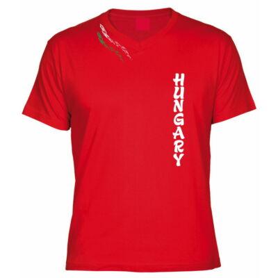 Magyar póló V nyakas aszimmetrikus mintával, piros