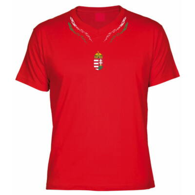 Magyar póló V nyakas szimmetrikus mintával, piros