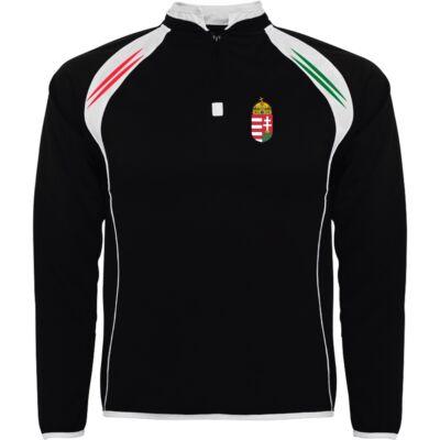 Magyar pulóver állónyakas, rövidzippes, fekete