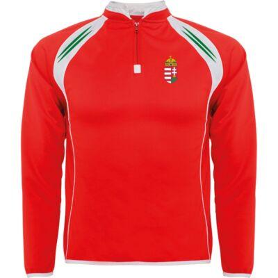 Magyar pulóver állónyakas, rövidzippes, piros