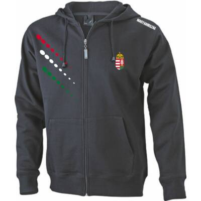 Magyar pulóver zippzáras, kapucnis, fekete