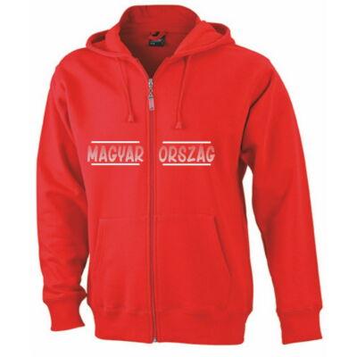Magyar pulóver zippzáras, kapucnis, piros