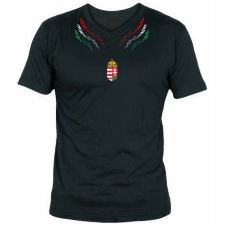 Magyar póló V nyakas szimmetrikus mintával, fekete